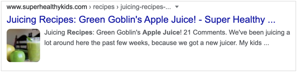 Google result without rich snippet