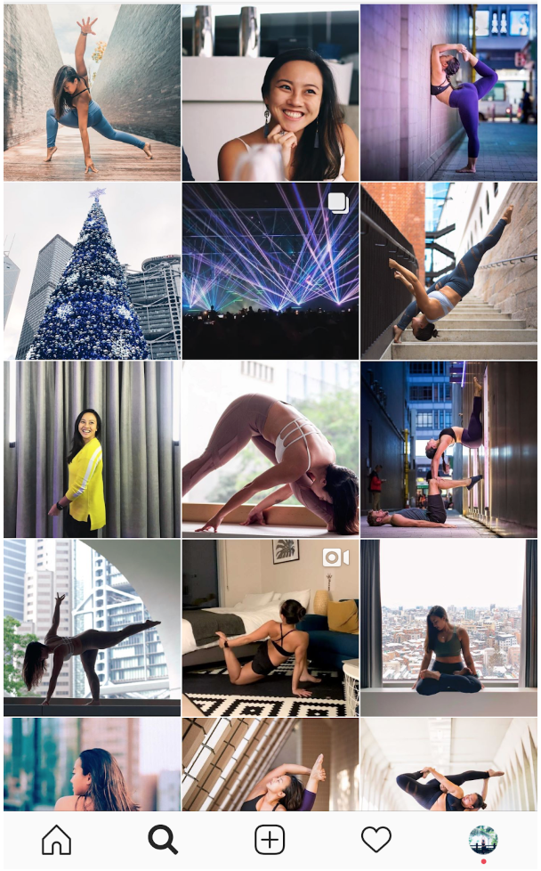 yoga influencer grid